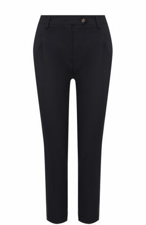 Укороченные брюки прямого кроя с защипами Kiton. Цвет: темно-синий