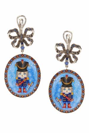 Серебряные серьги «Щелкунчик» с голубыми топазами и гранатами Axenoff Jewellery. Цвет: голубой