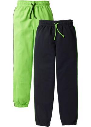 Спортивные брюки с лампасами (2 штуки) (ярко-зеленый/черный) bonprix. Цвет: ярко-зеленый/черный