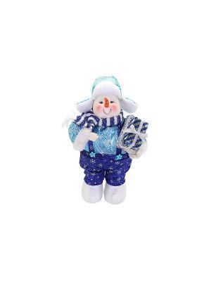 Кукла Снеговик 30 см, син. Новогодняя сказка. Цвет: синий