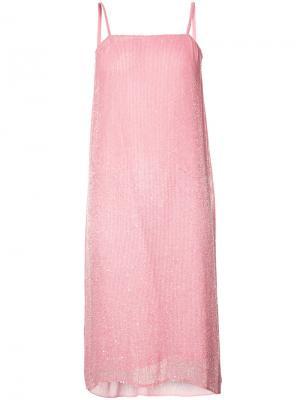 Шифоновое платье-комбинация с бусинами Ashish. Цвет: розовый и фиолетовый