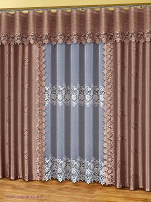 Комплект штор для гостиной Haft. Цвет: светло-коричневый, белый