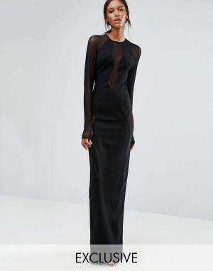 Taller Than Your Average Черное платье макси с длинными рукавами и сетчатыми вставками TTYA Ser. Цвет: черный
