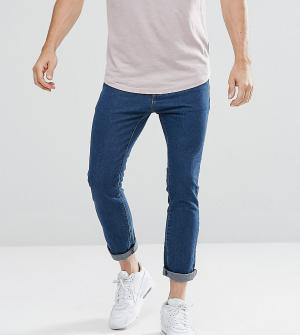 Liquor N Poker Синие узкие укороченные джинсы. Цвет: синий