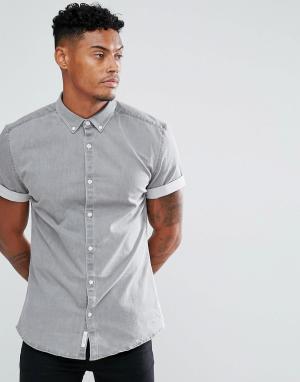 River Island Серая джинсовая рубашка обтягивающего кроя. Цвет: серый