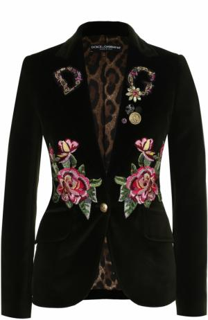 Приталенный бархатный жакет с контрастной вышивкой Dolce & Gabbana. Цвет: темно-зеленый
