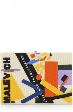 Клатч Malevich с аппликацией Olympia Le-Tan. Цвет: кремовый