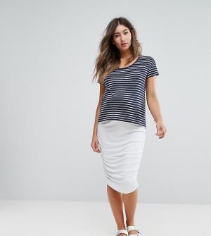ASOS Maternity Удлиненная юбка-карандаш с присборенной отделкой сбоку. Цвет: белый