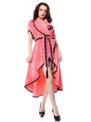 Халат-накидка безразмерный теплый Уютный розово-коралловый с черным кружевом солнышками SEANNA. Цвет: розовый