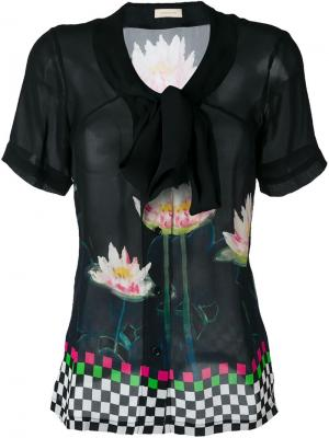 Блузка с цветочным принтом Wunderkind. Цвет: чёрный