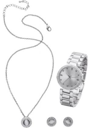Комплект: часы + цепочка серьги (3 изд.) (серебристый) bonprix. Цвет: серебристый