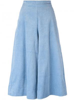 Вельветовые укороченные брюки Manoush. Цвет: синий
