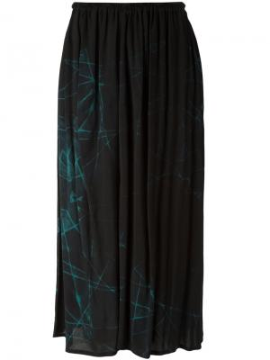 Присборенная юбка с абстрактным принтом  Ys Y's. Цвет: чёрный