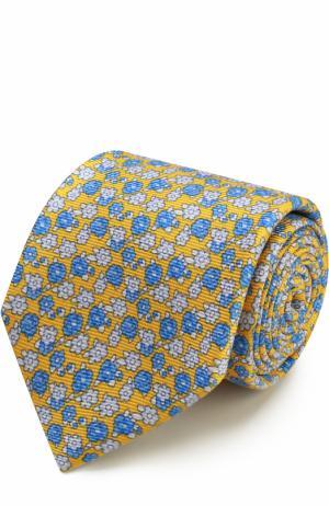 Шелковый галстук с узором Kiton. Цвет: желтый