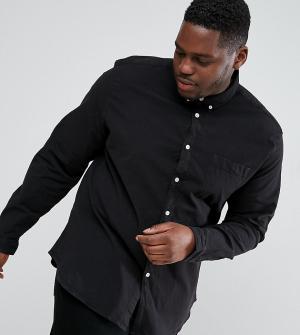 ASOS Черная облегающая эластичная оксфордская рубашка с воротником на пугов. Цвет: фиолетовый