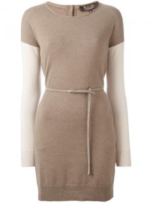 Трикотажное платье с поясом Loro Piana. Цвет: коричневый
