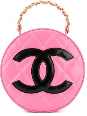 Круглая стеганая сумка-тоут Chanel Vintage. Цвет: розовый и фиолетовый