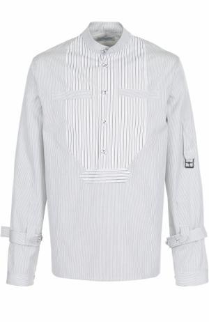 Хлопковая рубашка в полоску с отделкой J.W. Anderson. Цвет: черный