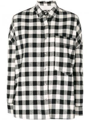 Рубашка с узором в клетку Hache. Цвет: чёрный