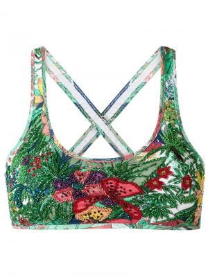 Embroidered bikini top Amir Slama. Цвет: зелёный