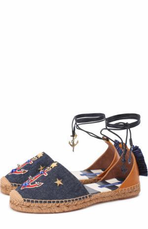 Эспадрильи из денима с декором и подвесками Dolce & Gabbana. Цвет: синий
