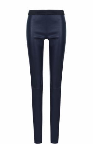 Кожаные брюки-скинни с контрастным поясом DROMe. Цвет: темно-синий