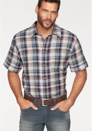Рубашка Arizona. Цвет: темно-синий/зелено-синий/бежевый