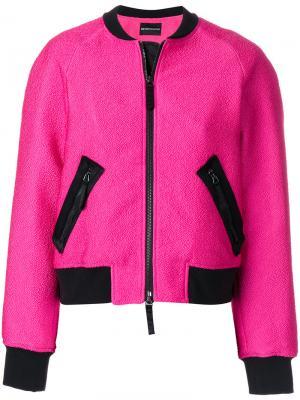 Куртка-бомбер с нашивкой Emporio Armani. Цвет: розовый и фиолетовый