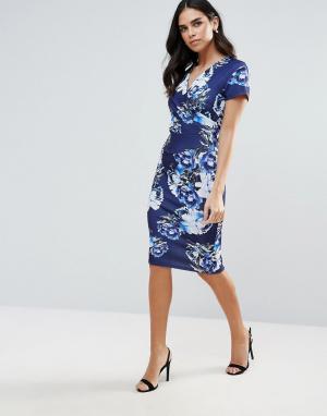 Jessica Wright Платье миди с принтом. Цвет: синий