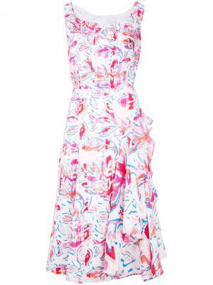 Платье миди с растительным принтом Peter Pilotto. Цвет: белый