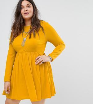 Alice & You Свободное платье с длинными рукавами и плиссированной юбкой Yo. Цвет: желтый