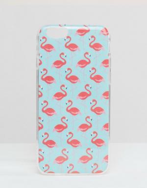 SIGNATURE Чехол для iPhone 6 с принтом фламинго. Цвет: синий
