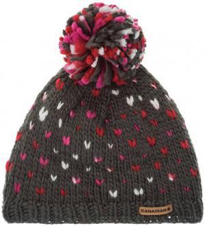 Серая шапка с текстильным помпоном CANADIAN. Цвет: серый