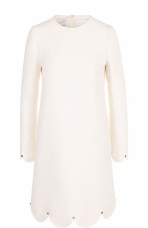 Мини-платье с длинным рукавом и фестонами Valentino. Цвет: белый