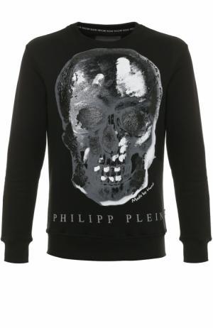 Хлопковый свитшот с принтом Philipp Plein. Цвет: черный
