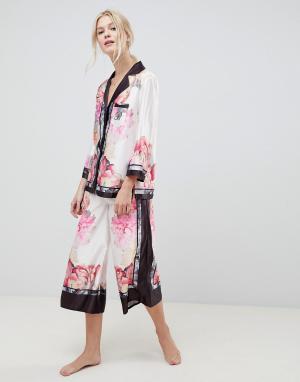 Ted Baker Пижама с топом отложным воротником и широкими брюками B By. Цвет: розовый