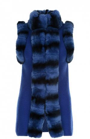 Меховой жилет Vicedomini. Цвет: синий