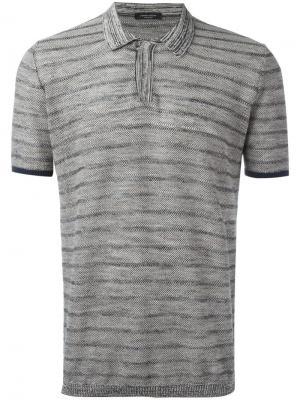 Полосатая футболка-поло Roberto Collina. Цвет: чёрный