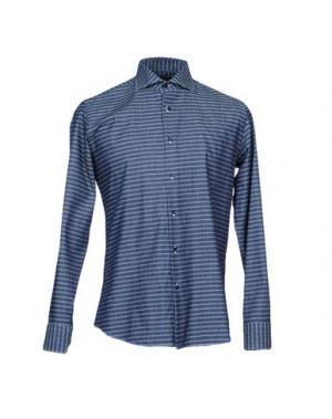 Джинсовая рубашка TRU TRUSSARDI. Цвет: синий