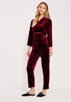 Костюм жакет и брюки Kira Mesyats. Цвет: бордовый