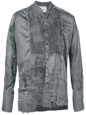 Рубашка с необработанными краями Greg Lauren. Цвет: серый