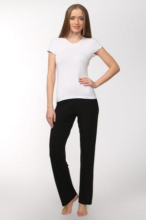 Комплект: футболка и брюки Cotton Club. Цвет: белый, черный