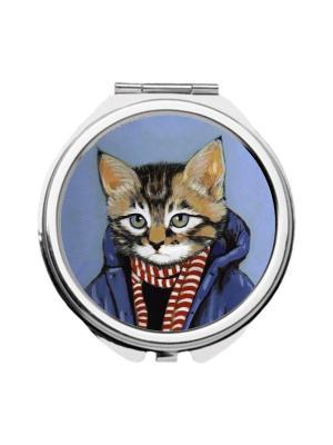 Зеркальце карманное Кот-подросток Chocopony. Цвет: зеленый, голубой, серый