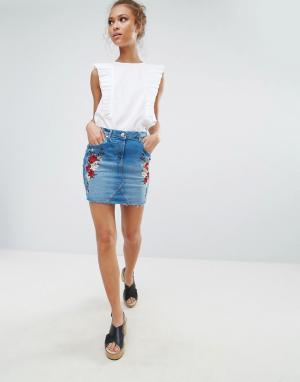Parisian Джинсовая юбка с цветочной вышивкой. Цвет: синий