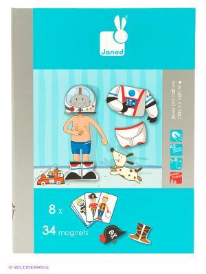 Магнитная книга-игра Мальчишки в костюмах Janod. Цвет: голубой