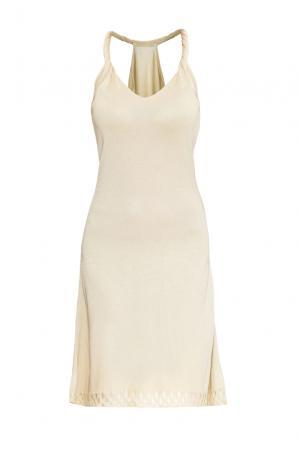 Платье из хлопка с вискозой 147039 Firkant. Цвет: бежевый