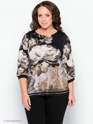 Блузка Forus. Цвет: бежевый, серо-коричневый, серый, черный