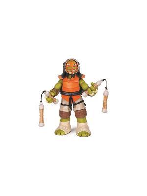 Фигурка Черепашки-ниндзя 28см Микеланджело, серия DoJo Playmates toys. Цвет: зеленый, оранжевый, черный