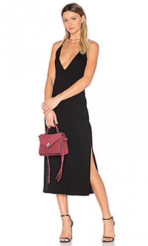 Миди платье с разрезом Lanston. Цвет: черный