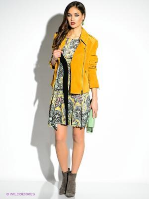 Платье Just Cavalli. Цвет: желтый, черный, бирюзовый, розовый